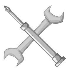 wrench and screwdriver icon monochrome vector image