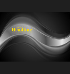 abstract silver wave on black background vector image vector image
