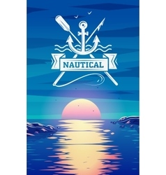 Nautical logo and sunset background concept vector image