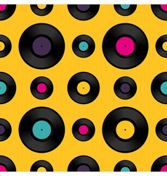 Vinyl record seamless background pattern vector image