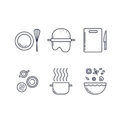 Kitchen line icons set vector image
