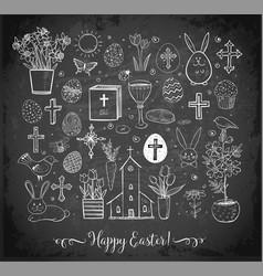 set of easter doodles on blackboard background vector image vector image