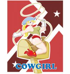 sexy pin up cowgirl vector image vector image