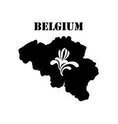 symbol of belgium and map vector image vector image