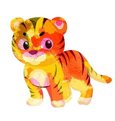 Watercolor tiger colorful isolated on white vector