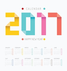 2017 Calendar colorful happy new year design vector image vector image