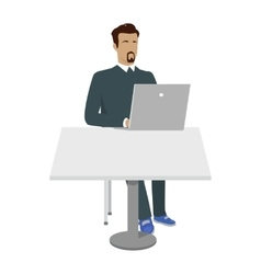 Business Man Working with Laptop in Office vector image vector image