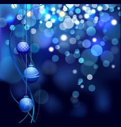 christmas defocus lights background with balls vector image
