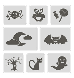 monochrome icons with symbols of Halloween vector image vector image