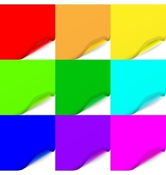 Multicolored Set of Curled Paper Sheets vector image vector image
