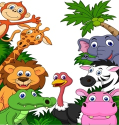 Safari animal cartoon background vector image