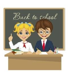 schoolkids at desk sitting in front of blackboard vector image vector image