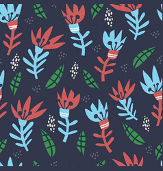 abstract floral hand drawn seamless pattern vector image