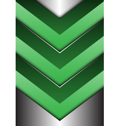 abstract green arrow 3d on silver direction vector image