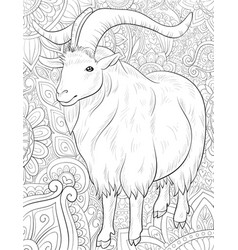 Adult coloring bookpage a cute ram on the vector