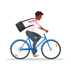 afro american businessman riding bike vector image