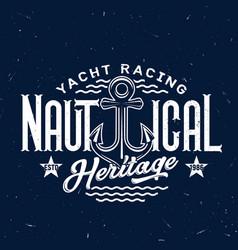 Anchor t-shirt print yacht racing club badge vector