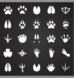 Animal foot prints icons set on black background vector