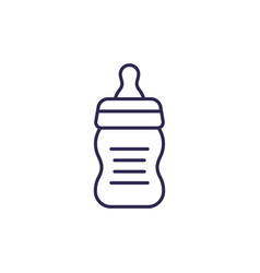 Baby bottle line icon on white vector