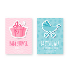 Bashower greeting card template set cute vector