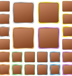 Brown blank square metal button set vector