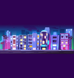 buildings hotels in miami at night summer time vector image