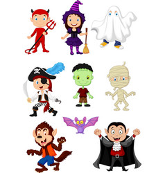 Cartoon children with halloween costume vector