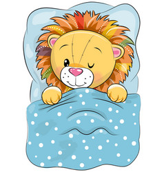 Cartoon sleeping lion in a bed vector