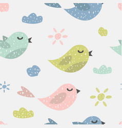 childish seamless pattern with cute birds vector image