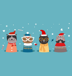 christmas cats in hole kitten in winter clothes vector image