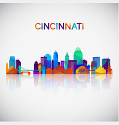 cincinnati skyline silhouette in colorful vector image