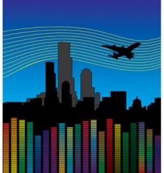 City with airplane and equalizer vector