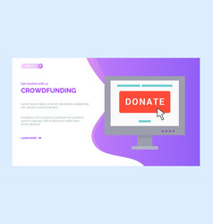 Crowdfunding charity project with computer screen vector
