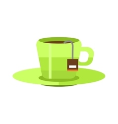 Cup of fresh hot green tea vector image