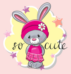 Cute rabbit girl on a pink background vector