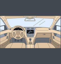 Design inside car cartoon outline vector