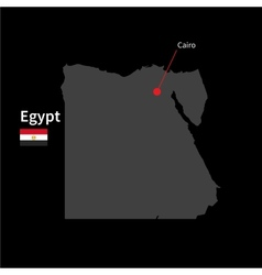 Detailed map of Egypt and capital city Cairo with vector image