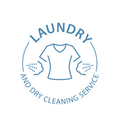 Dry cleaning service emblem laundry self-service vector