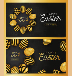 easter egg horizontal banner set easter card vector image