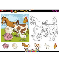 Farm animals cartoon coloring page set vector
