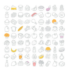 food icons drawn in thin line vector image