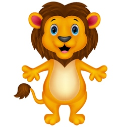 Funny lion cartoon waving vector image
