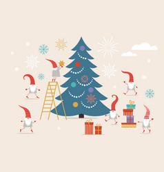 Fuuny small cute christmas gnomes vector