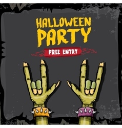 Halloween rock n roll zombie background vector image