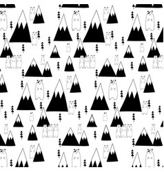 Hand drawn cute bear and forest pattern vector