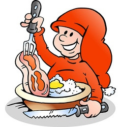 Hand-drawn of an happy christmas elf cooking vector