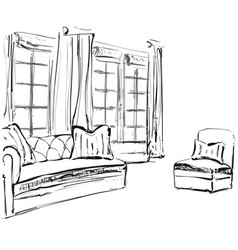 Hand drawn room interior sketch chair sofa and vector