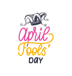 Hand lettering april fools day vector