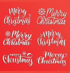 handwritten merry christmas calligraphy set vector image