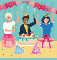 happy birthday people cake gifts confetti bunting vector image